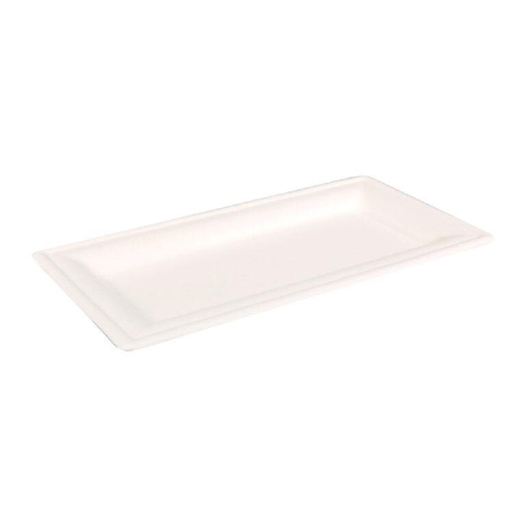 Piatti rettangolari in polpa di cellulosa e PLA ø 26x13 cm 100 pz