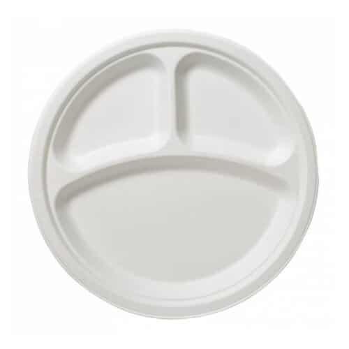 Piatti tris comparto in polpa di cellulosa e PLA 100 pz
