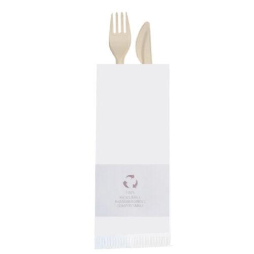 Busta portaposate bianca con tovagliolo FSC 1000 pz