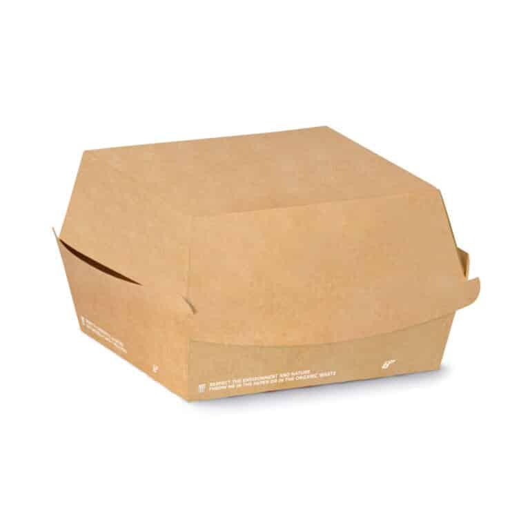 Porta burger in cartoncino avana rettangolare e PLA 12x12x7 cm 800 pz