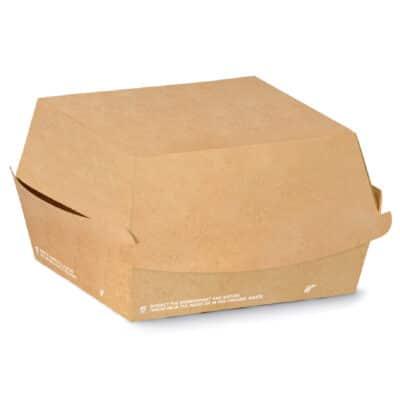 Porta burger in cartoncino avana rettangolare e PLA 16x16x9 cm 300 pz