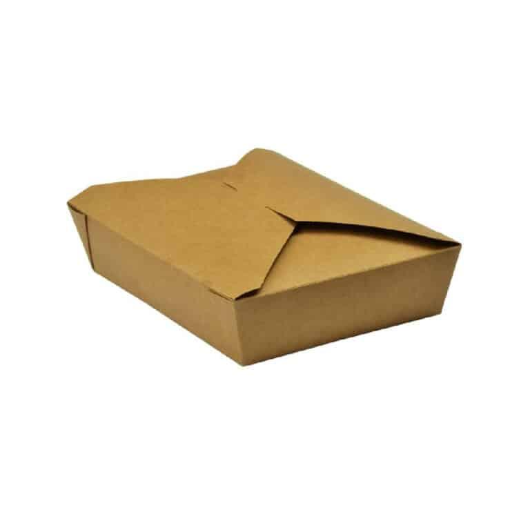 Scatole per cibo da asporto in cartoncino foderate in PLA 19,5x14 h 5 cm 1500 ml 280 pz