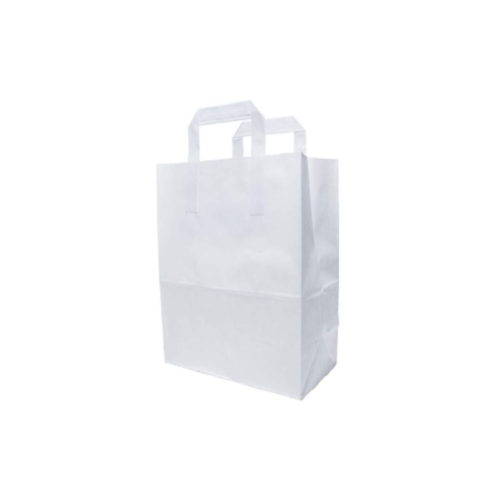 Shoppers bianco con manici in carta ecologica 25 17x32 cm 250 pz