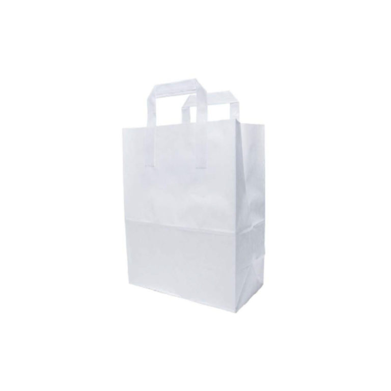 Shoppers bianco con manici in carta ecologica 25 17x32 cm 250 pz