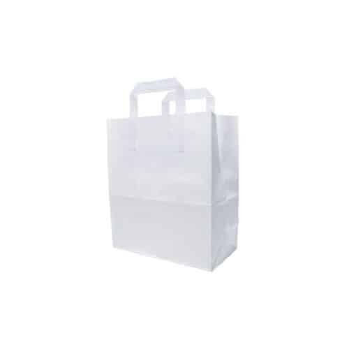 Shoppers bianco con manici in carta ecologica 35 25X25 cm 200 pz
