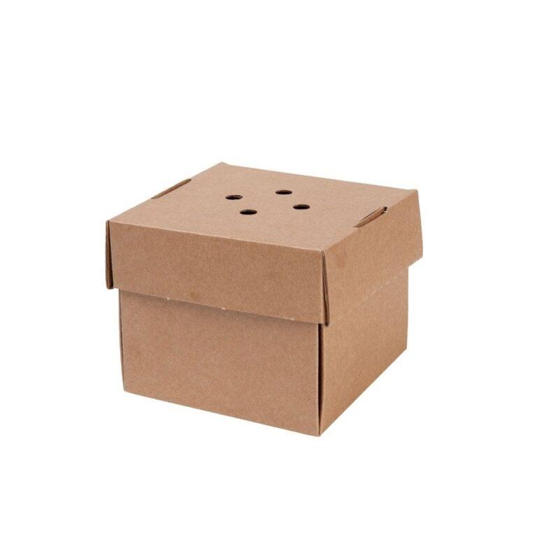 box porta burger in cartoncino con fori misura 13x13x10