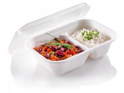 Vaschette biodegradabili per alimenti 1000 ml biscomparto
