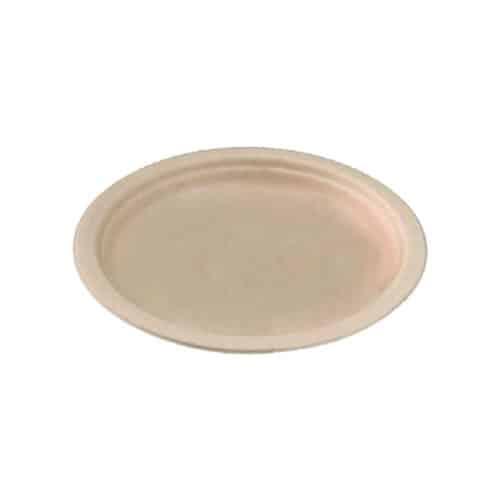 Piattini in polpa di cellulosa avana e PLA ø 18 cm 100 pz