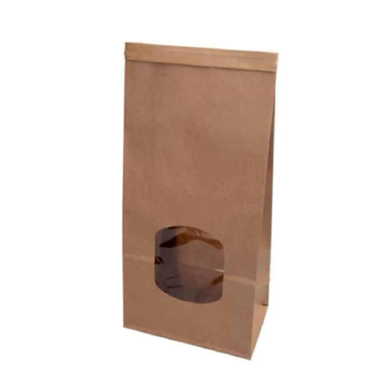 Sacchetti in carta kraft con finestra trasparente chiusura tin-tie 11,5 7x24,6 cm 400 PZ