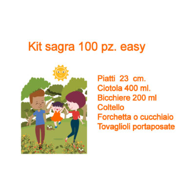Kit stoviglie compostabili 100 coperti per sagra ed eventi easy