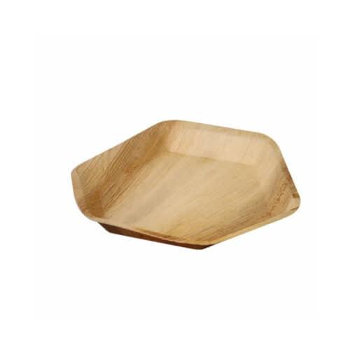 Piatti esagonali in foglia di palma 18 cm 100 pz