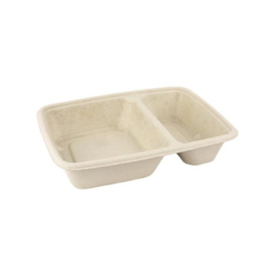 Vaschette due scomparti per alimenti 100% Bio 800 ml 150 pz