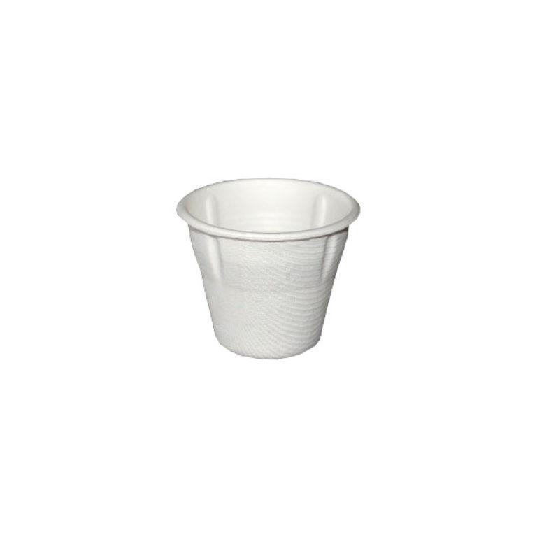 Eco tazzina compostabile in canna da zucchero 80 ml dettaglio 25pzx32conf.