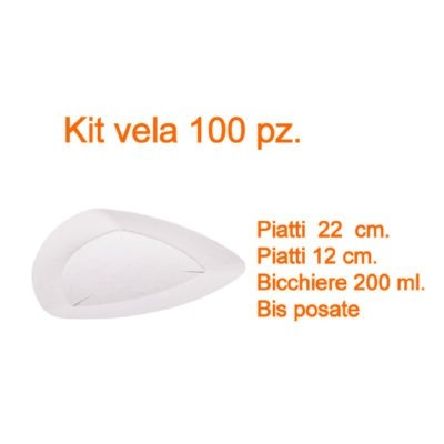 Kit stoviglie monouso compostabile vela 100 pz