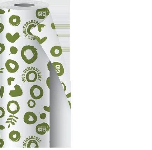rotolo tovaglia in carta compostabile fantasia verde