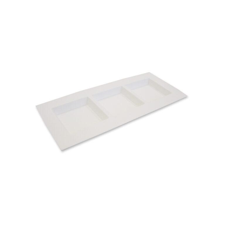 Piatti rettangolari tre scomparti personalizzati in polpa di cellulosa 26 x 11 cm 900 pz