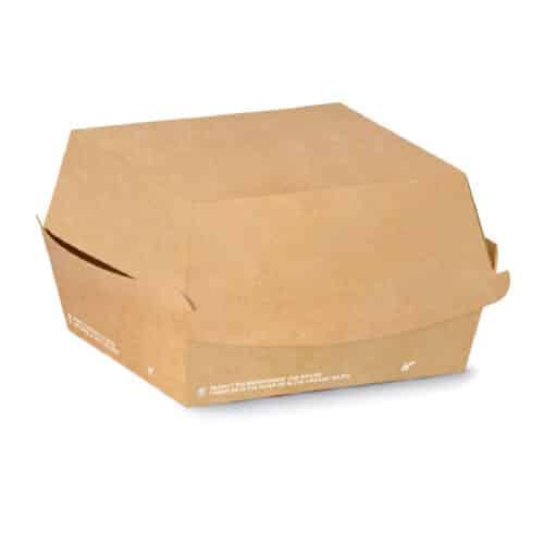 Porta burger personalizzato rettangolare in cartoncino avana 15x10x7 cm 500 pz