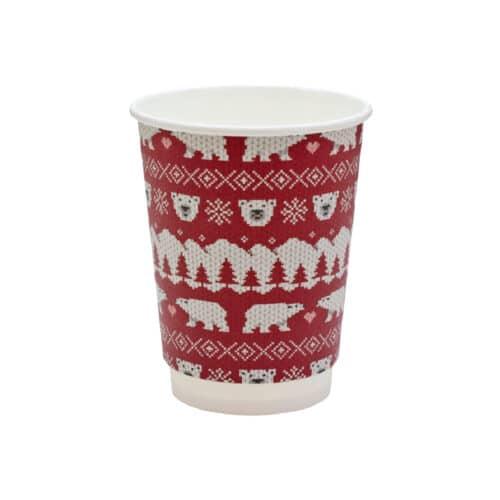 Bicchieri natalizi doppio strato in cartoncino 340 ml 100 pz