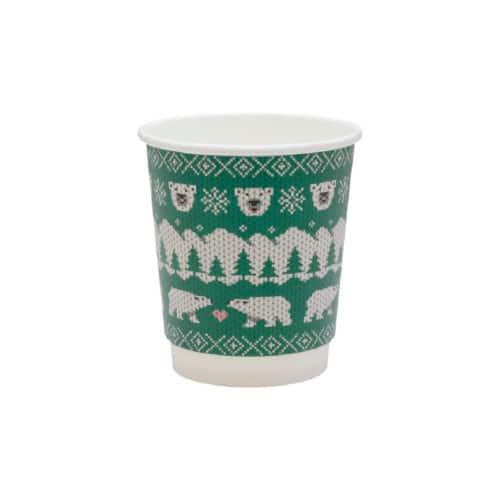Bicchieri natalizi in cartoncino doppio strato 240 ml 100 pz