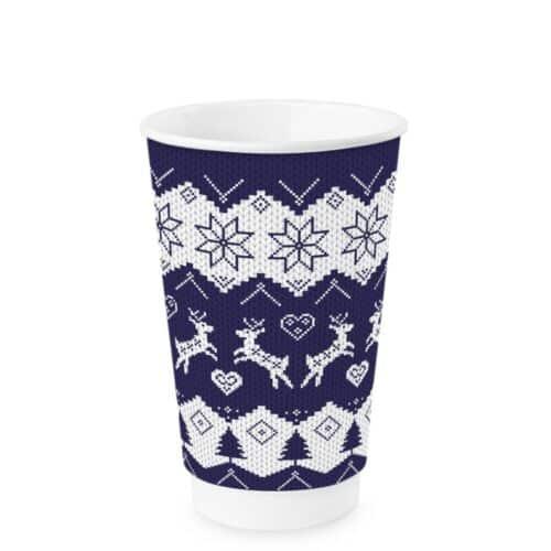 Bicchieri natalizi in cartoncino doppio strato 450 ml 100 pz