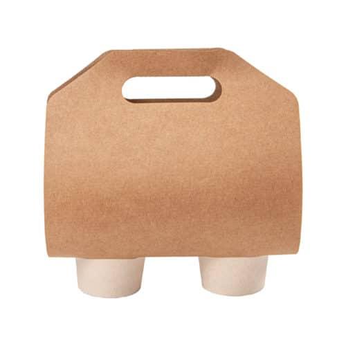 Porta bicchieri 2 posti per asporto in carta kraft 46,5x22,5 cm 100 pz