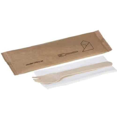 set forchetta legno e tovagliolo